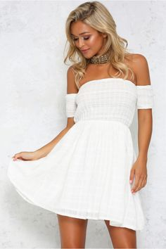The As You Are Dress has fresh, off the shoulder style neckline and ruched bust and short sleeve. With a voluminous skirt lined for shape. This new season essential is perfect pair with a fedora! www.hellomollyfashion.com/new-arrivals/as-you-are-dress-white.html?utm_source=facebook&utm_campaign=dresses&utm_medium=organic