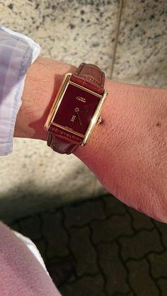 Cartier Tank Vermeil mecânico burgundy.(Tonton)