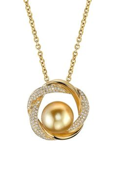 Golden South Sea and Diamond Pearl Pendant