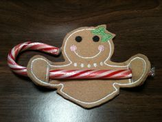 FREE ITH Gingerbread Girl Candy Holder  Free Embroidery Designs, Cute Embroidery Designs