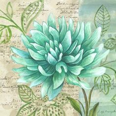 vintage mint green flower plant and background patchwork