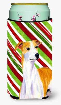 Whippet Candy Cane Holiday Christmas Tall Boy Beverage Insulator Beverage Insulator Hugger