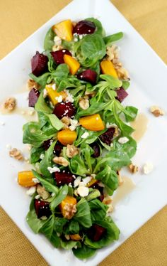 roasted beet, feta, + walnut salad
