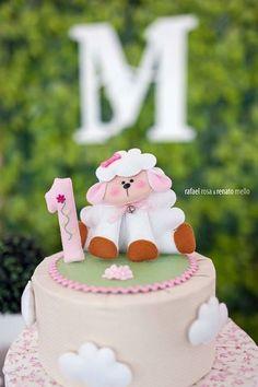 Topo de bolo, ovelhinha de feltro