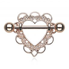 FreshTrends Heart Filigree Rose Gold-Tone Anodized Steel Nipple Shield Ring