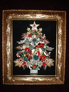 Vintage Jewelry Framed Christmas Tree! I have one of these, was left to us by a family member…. A good idea for your broach's after your wedding!!