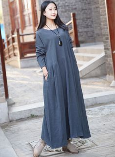 Linen dress Cotton Maxi dress Casual loose long dress Custom-made Plus size dress Autumn Large size dress plus size clothing Winter Dresses by Luckywu on Etsy