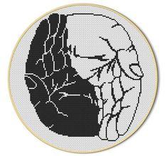 Yin-Yang-Kreuzstich-Muster handarbeitliches Geschick der