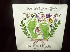 Footprint plates- cute idea for mothers day