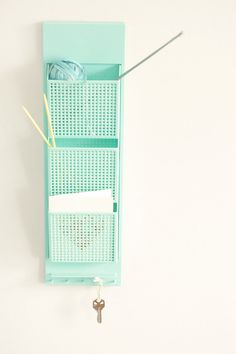 turquoise wall organizer