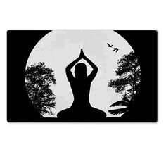 MSD Natural Rubber Large Table Mat Image ID 23777546 Yoga meditation in lotus pose by woman silhouette background vector illustration >>> Click image to review more details.