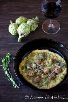 Artichoke & Chicken Sausage Pizza | Lemons & Anchovies Blog