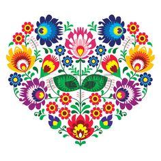 Olk polaco del arte del arte del bordado coraz n con flores Lowickie wzory Foto de archivo