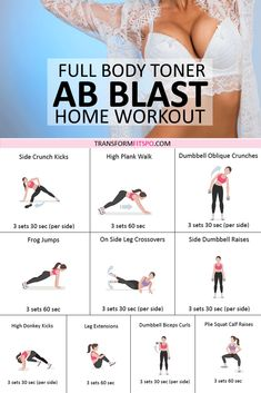 Ab Blast Full Body Toner – At Home Workout for Women. These Results Turn Heads! Ab blast home workout. This is a quick and intensive abs workout that engages all of the muscles of your core. Butt Workout At Home, Quick Ab Workout, Workout For Beginners, Home Workout Full Body, Beginner Upper Body Workout, Intense At Home Workout, Beach Body Workouts, Home Workout Beginner, Beginner Pilates