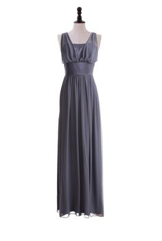 Chiffon and Satin V-Neck Gown