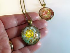 Rose Floral Pendant Necklaces in Red or Yellow by BluKatDesign