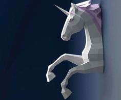 DIY Wall Mounted 3D Unicorn Papercraft
