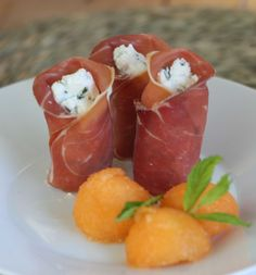Goat cheese, cantaloupe and ham appetizer