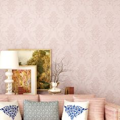 European non-woven Damascus self-adhesive wallpaper Bedroom living room TV background wall paper 3d stereo wall paer Cheap Wallpaper, Wallpaper Size, Wallpaper Online, Self Adhesive Wallpaper, Wall Wallpaper, Pink Damask, Paper Wall Art, Art Deco Home, 3d Home