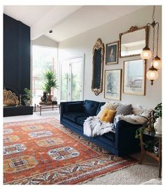 Blue And Orange Living Room, Blue Couch Living Room, Eclectic Living Room, Boho Living Room, Home And Living, Living Room Designs, Living Room Decor, Bedroom Decor, Living Rooms
