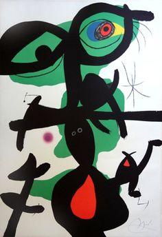 """Joan Miró Litografía """"Oda a Joan Miró - Mod.8""""  1973  88 x 61 cm  Tirada de 75 ejemplares  Numerado y firmado a mano  Certificado por el Editor  Catalogada en """"Miró Litógrafo V""""  Enmarcada  Precio: 7.750 €"""