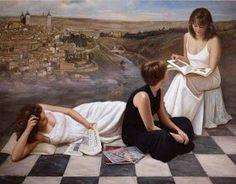 pintura contemporaneo mujeres leyendo de Soledad Fernandez