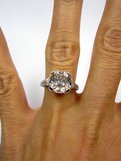 Antique 1910s 4.04ct Old CUSHION Cut VINTAGE Estate Solitaire Diamond Wedding ENGAGEMENT Ring Platinum