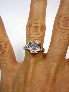Antique 1910s 4.04ct Old CUSHION Cut VINTAGE Estate Solitaire Diamond Wedding ENGAGEMENT Ring Platinum