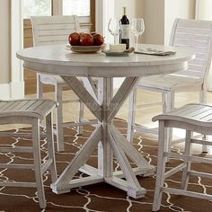 willow round counter height table distressed white progressive furniture furniture cart - Progressive Furniture