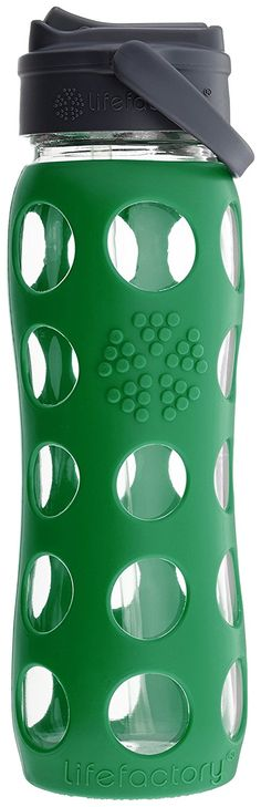 Lifefactory 22-Ounce BPA-Free Glass Water Bottle with Straw Cap  Silicone Sleeve, Green -- Check out the image by visiting the link.
