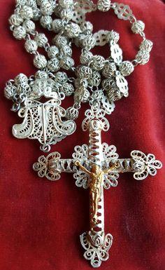 Vintage Spanish Silver Filigree Rosary Art Nouveau Victorian Catholic Jewelry Religious Jewelry Religious Gift Catholic Spain by PinyolBoiVintage on Etsy