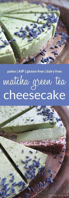 No bake matcha green tea cheesecake dairy free gluten free paleo aip 22 unique apple recipes snacks desserts healthy lifestyle Bon Dessert, Low Carb Dessert, Paleo Dessert, Gluten Free Desserts, Healthy Desserts, Dessert Recipes, Green Tea Dessert, Gluten Free Dairy Free Cheesecake Recipe, Drink Recipes