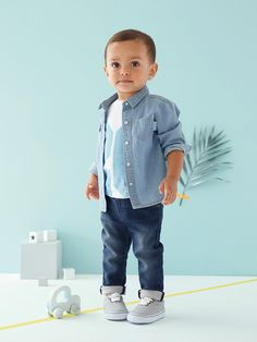 #chemise en jean #denim #bébé #mode - Collection Printemps-Eté 2016 - www.vertbaudet.fr