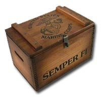 Wooden US Marine Corps Ammo Shell Box with Laser Engraved Eagle, Globe & Anchor and Hasp for Lock