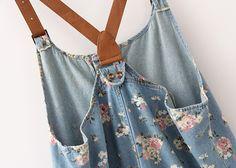 Vintage flower denim suspender shorts ($29.90)