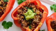 Trisha's Mexican Taco Stuffed Peppers Recipe Taco Stuffed Peppers, Slow Cooker Stuffed Peppers, Sausage And Peppers, Mexican Food Recipes, Beef Recipes, Ethnic Recipes, Mexican Dishes, Clean Recipes, Chicken Recipes