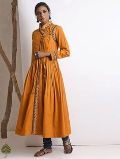 Buy Jaypore Mustard Hand embroidered Rabari Handloom Cotton Angrakha online in India at best price. Kurti Neck Designs, Kurti Designs Party Wear, Lehenga Designs, Indian Dresses, Indian Outfits, Angrakha Style, Kurta Style, Embroidery Online, Kurti Embroidery Design