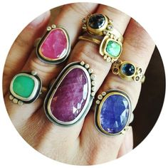 Totally scrumptious. #anandakhalsajewelry #color #gemstones #ringparty #mixingmetals #maxsjewelry #minneapolis