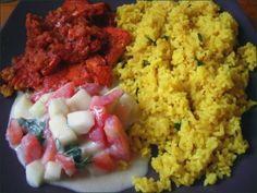 Riz au citron, tofu tandoori, raita