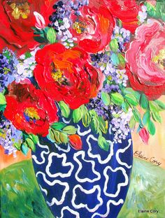 Abstract+Still+life+Floral+oil+acrylic++14+x+by+ElainesHeartsong,+$135.00