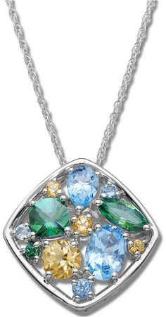 Princess Kylie Natural Larimar Rectangular Dangling Pendant Sterling Silver