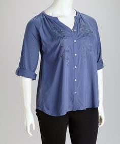 Take a look at this Canal Blue Knit Plus-Size Button-Up Top by Lemon Grass on #zulily today!