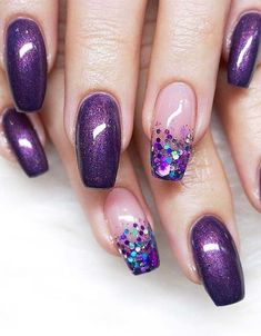 18 Stunning Purple Nail Arts & Designs in 2019 is part of Cute Acrylic nails Bling - Try our cutest trends of purple nail arts and designs so that you may get fresh hands' look and gorgeous personality in year 2019 Purple Nail Art, Purple Nail Designs, New Nail Designs, Acrylic Nail Designs, Purple Gel Nails, Purple Wedding Nails, Black And Purple Nails, Violet Nails, Fabulous Nails