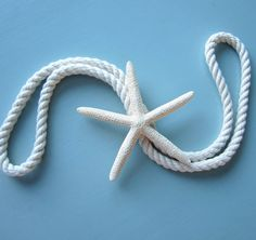 Beach Decor White Starfish Curtain Tie Back by beachgrasscottage