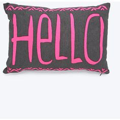 Hello Cushion in Grey and Pink (€6,69) ❤ liked on Polyvore featuring home, home decor, throw pillows, pillows, assorted, grey accent pillows, gray accent pillows, grey home decor, grey throw pillows and pink toss pillows