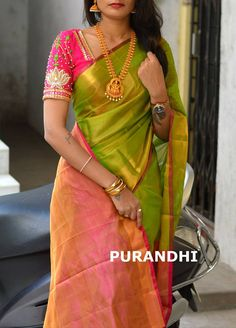 Uppada tissue saree in green and pink with pink blouse piece,handwoven uppada saree,partywear saree,green uppada tissue saree Wedding Saree Blouse Designs, Pattu Saree Blouse Designs, Saree Blouse Patterns, Wedding Sarees, Bridal Sarees, Pink Saree Blouse, Yellow Blouse, Lehenga Designs, Kurta Designs