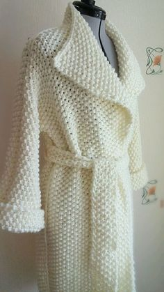 Knit Cardigan Pattern, Sweater Knitting Patterns, Knitting Charts, Knitting Designs, Knit Patterns, Hand Knitting, Col Crochet, Crochet Coat, Knitted Coat