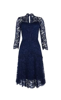 Magnificent midgnight blue dress, full covered of dark blue lace - Witchery
