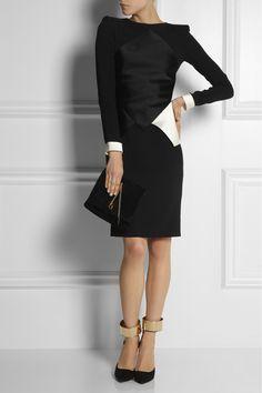 Roland Mouret|Akali crepe and duchess satin dress|NET-A-PORTER.COM