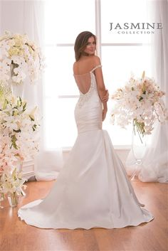Off Shoulder #Wedding Dress. 2015 Sophisticated Satin Fit & Flare Mermaid Gown with a Portrait V-Neck, Beaded Off Shoulder Straps, Ruched Satin Fitted Bodice Past Hips, Lightly Padded Bust Cups and Interior Boning, Side Draped Satin Flared Mermaid Skirt, Chapel Train, Illusion Sheer Beaded Low Back with Side Zipper Closure. #fitandflare #weddingdresses #bridalgowns #satin #mermaidweddingdress #offshoulder #romantic #elegant #sayyestothedress #customweddingdress #2015weddingdresses #lowback